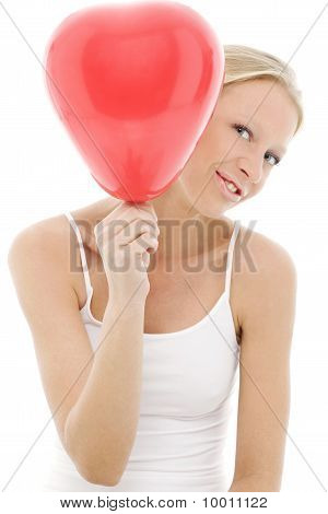 young beautiful caucasian woman with balloon isolated on white background