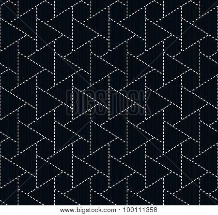 Traditional japanese embroidery. Sashiko. Seamless pattern.
