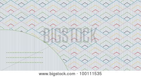 Colorful sashiko motif with copy space for text.