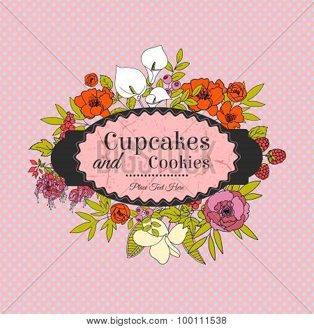 Vintage greeting vector card with flowers and berries