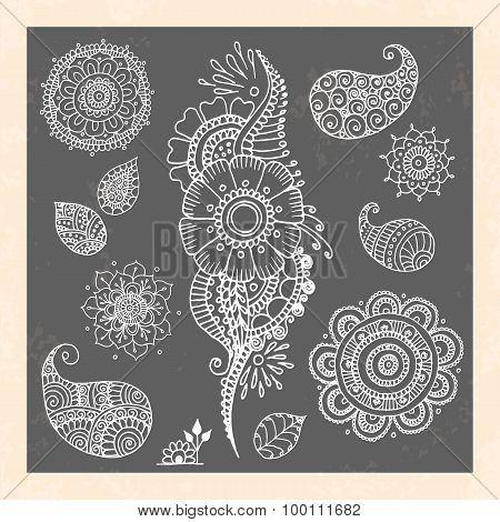 Henna tattoo doodle vector elements on black background