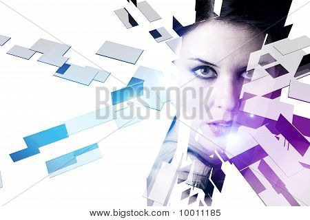Beautiful Fashion Woman Face With 3D Cubes And Shapes