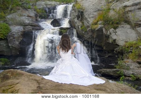 Bride At Waterfall