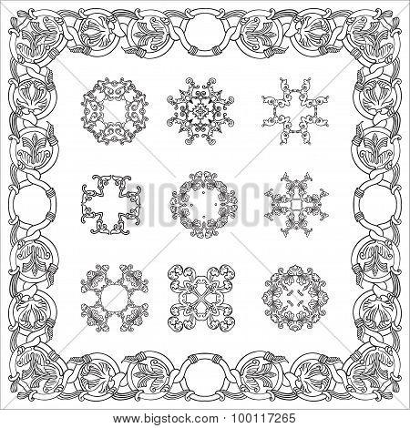 Set hand drawing zentangle decorative frame. Italian majolica style