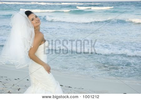 Caribbean Beach Wedding  Bride Posing 2