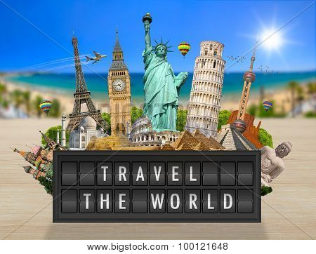 Monuments Of The World On A Airport Billboard Panel
