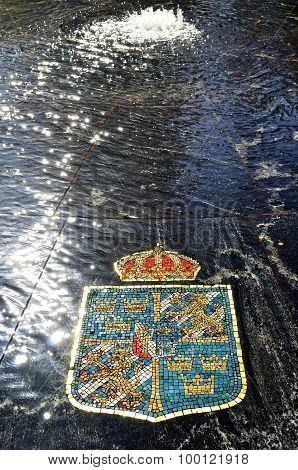 Coat Of Arms Of Sweden, Represented In The Hanseatic Fountain In Veliky Novgorod, Russia