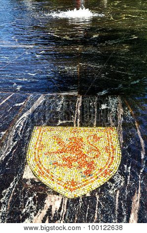 Coat Of Arms Of Scotland, Represented In The Hanseatic Fountain In Veliky Novgorod, Russia