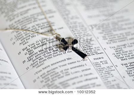Onyx Cross on Bible Text