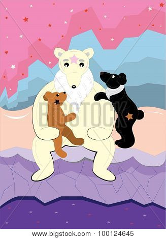 Mother bear and two bear cubs