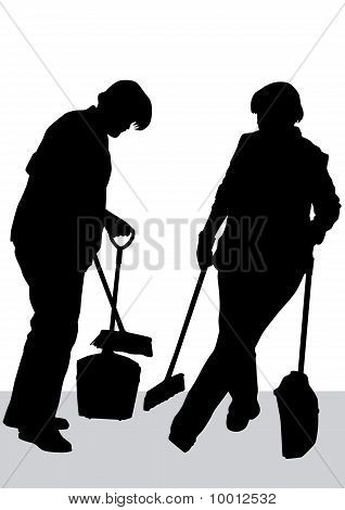 Cleaner woman work