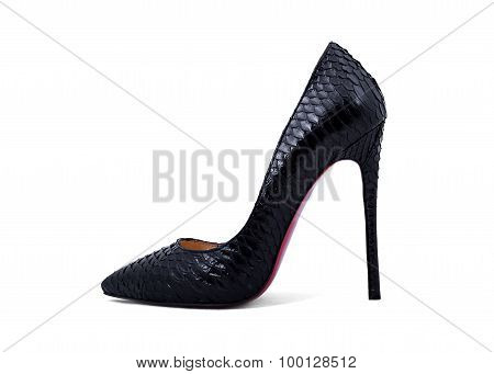 Elegant Expensive Black High Heel Women Shoes On White Background