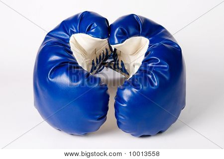 Blue Boxing Gloves isolated on white