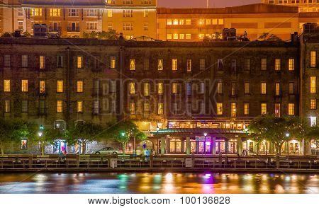River Street At Twilight In Savannah Georgia