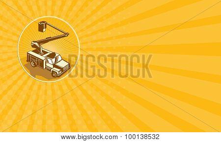 Business Card Cherry Picker Bucket Truck Access Equipment Retro