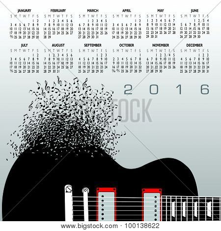 2016 Music Calendar With Notes