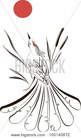 Turtledove looking at the moon in the reeds. EPS10 vector illustration