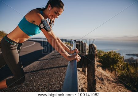 Runner Leaning On Road Rail Taking A Break