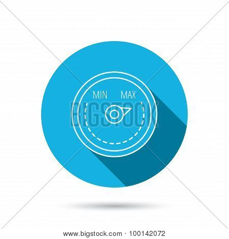 Heat regulator icon. Radiator thermometer sign. Blue flat circle button with shadow. Vector poster
