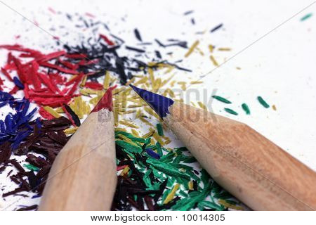 Sharp pencil and his waste.