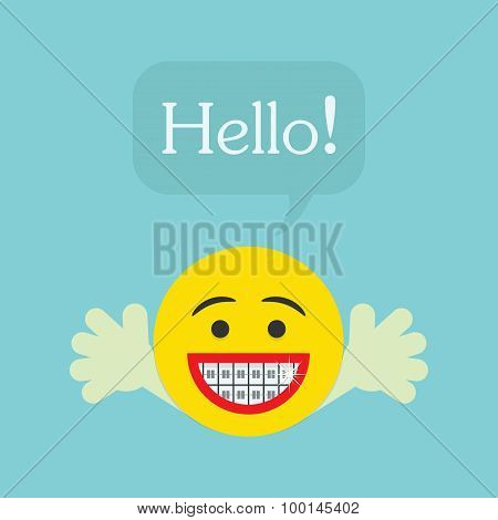 Hello character face icon with big smile and orthodontics teeth opens hands and speech bubble