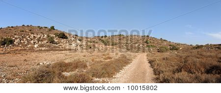 Mediterranean hill landscape with road