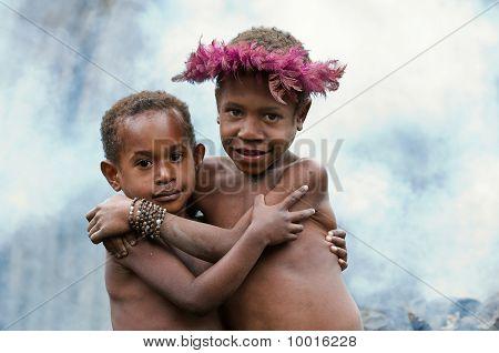 Children Of A Dani Tribe.