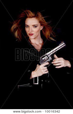 Blond With Gun Up