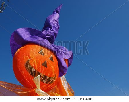 Stick Pumpkin in Witche's Hat