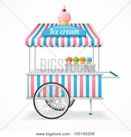 Ice Cream Cart Market Card. Vector