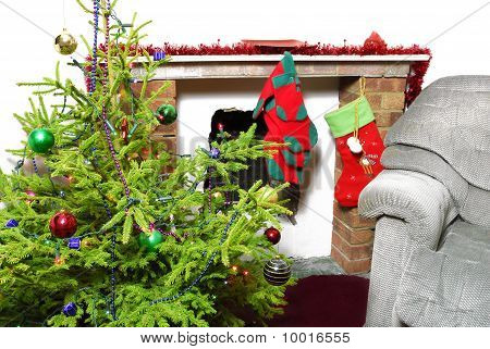 Christmas tree and room decorated