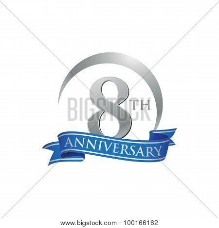8th anniversary ring logo blue ribbon