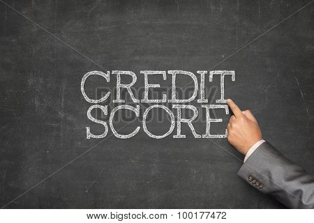 Credit score text on blackboard