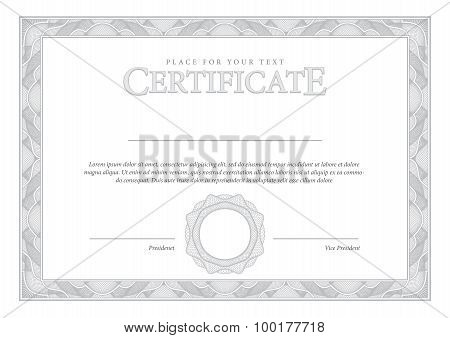 Vintage Certificate. Award background. Gift voucher. Template diplomas currency Vector illustration poster