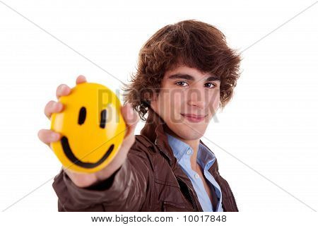 Man With A Yellow Smile Face On Hand, Isolated On White, Studio Shot