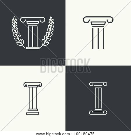 Antique column. Pedestal.