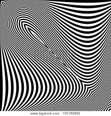 Design monochrome textured illusion background. Abstract striped torsion backdrop. Vector-art illustration poster