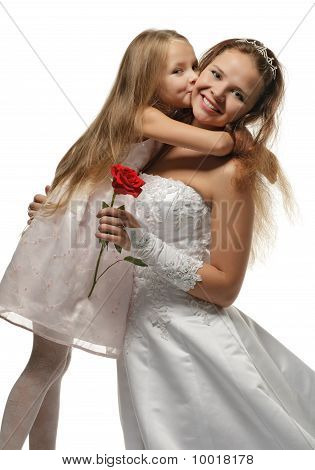 Beautiful Bride With Little Girl