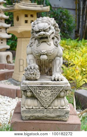 Chinese Imperial Lion Guardian Lion stone Chinese style sculpture in chinese temple garden poster