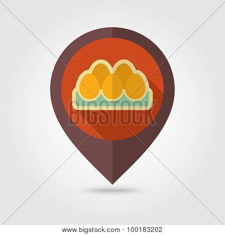 Chicken Eggs In A Tray Flat Mapping Pin Icon