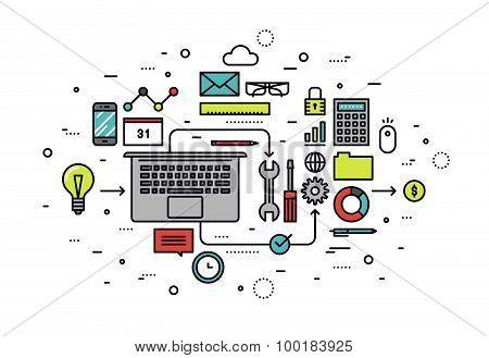 Startup Workshop Line Style Illustration