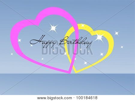 Happy Birthday Glittering Sign With Two Hearts