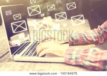 Email Concept With Girl's Hands
