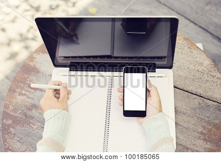 Blank Notebbok, Laptop And Cell Phone Outdoor