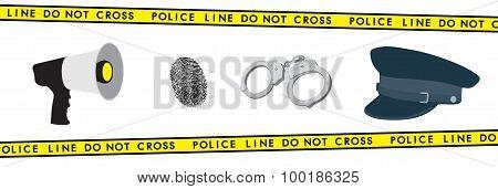 Police Equipment: Megaphone, Handcuffs, Hat And Fingerprint