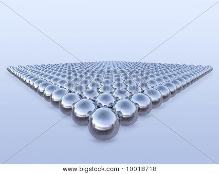 3d metal balls in geometric pattern