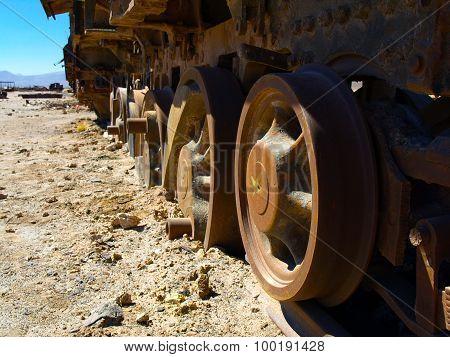Old rusty locomotive wheels