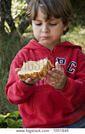 Young Boy Eating Peanut Butter Sandwich