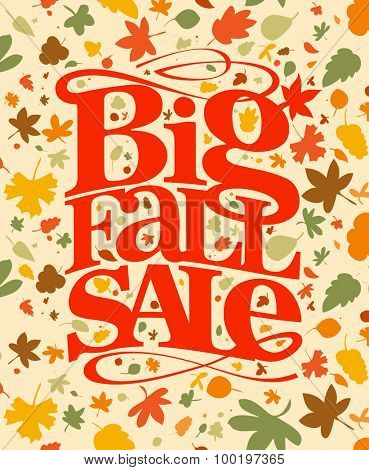 Big fall sale banner with falling autumn leaves.