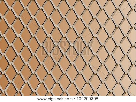 Chain Link Fence With Copper Background; Vector